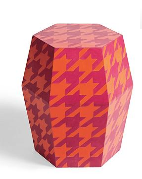 This houndstooth garden stool from Grandin Road adds a perfect pop of color to any decor!
